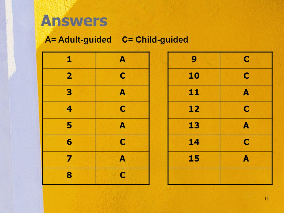 Answers A= Adult-guided C= Child-guided 1 A 2 C 3 4 5 6 7 8 9 C 10 11