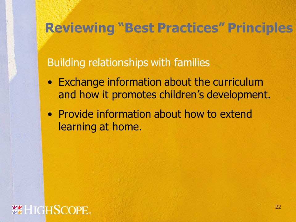 Reviewing Best Practices Principles