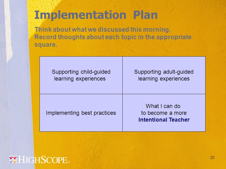 Implementation Plan Think about what we discussed this morning