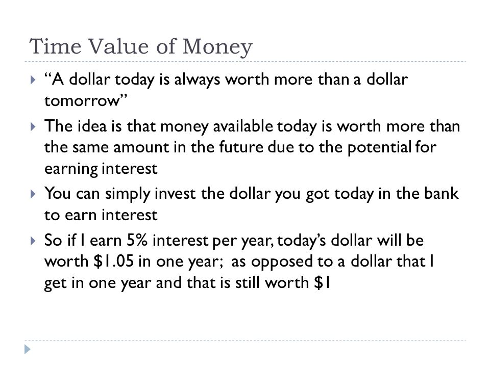 Time Value of Money A dollar today is always worth more than a dollar tomorrow