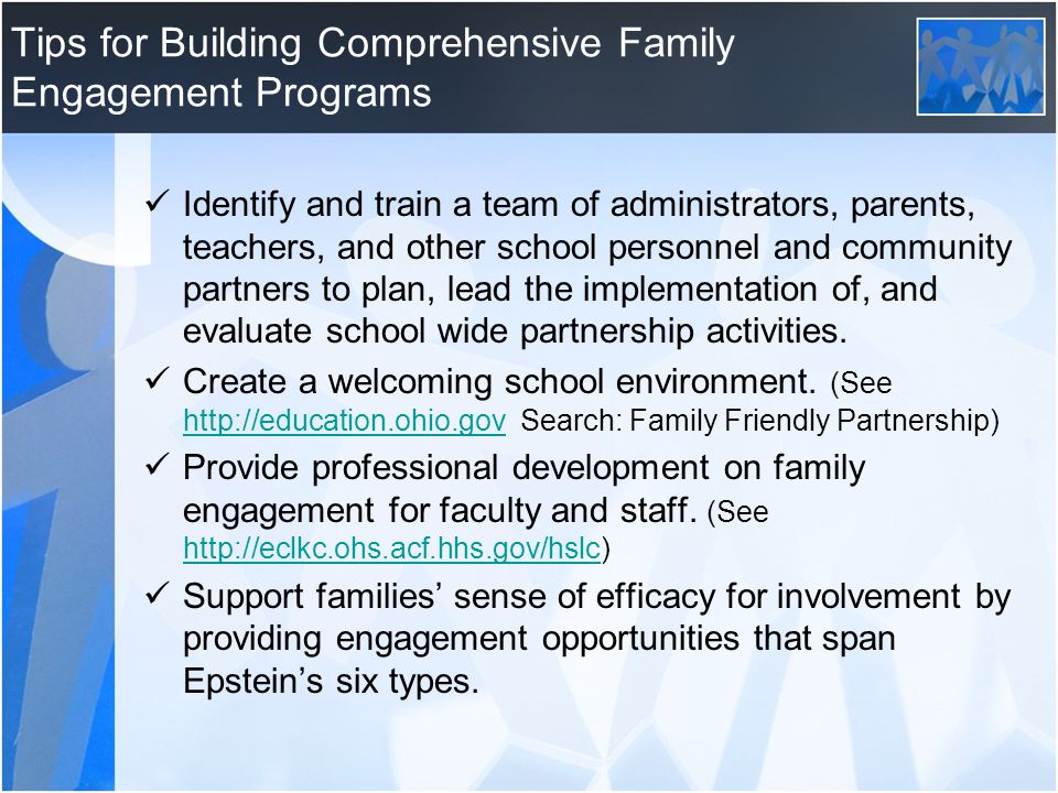 Tips for Building Comprehensive Family Engagement Programs