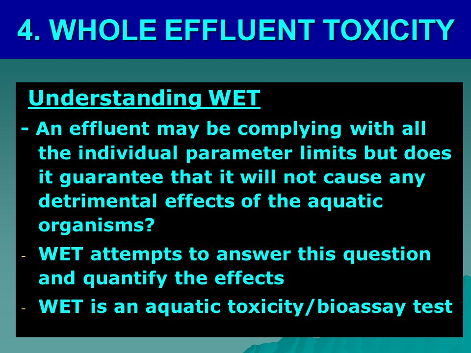4. WHOLE EFFLUENT TOXICITY