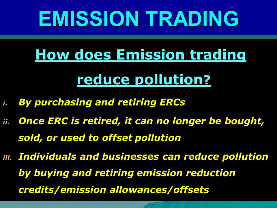 How does Emission trading reduce pollution