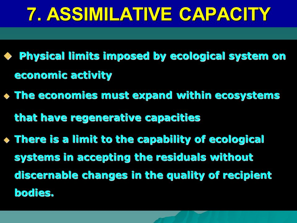 7. ASSIMILATIVE CAPACITY