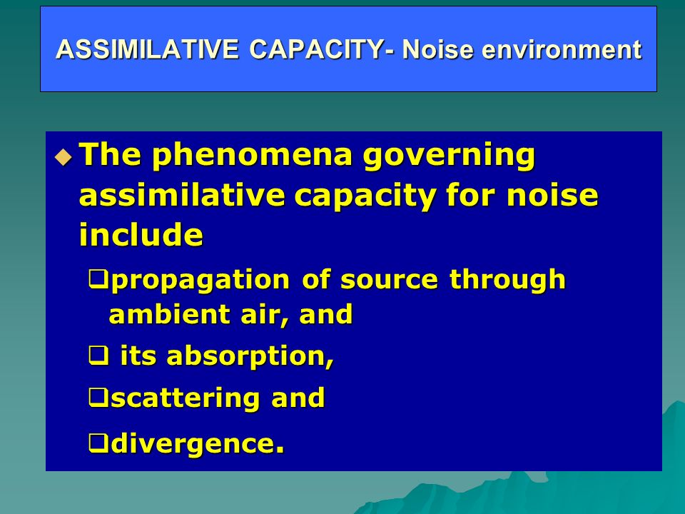 ASSIMILATIVE CAPACITY- Noise environment