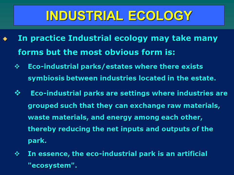 INDUSTRIAL ECOLOGY In practice Industrial ecology may take many forms but the most obvious form is: