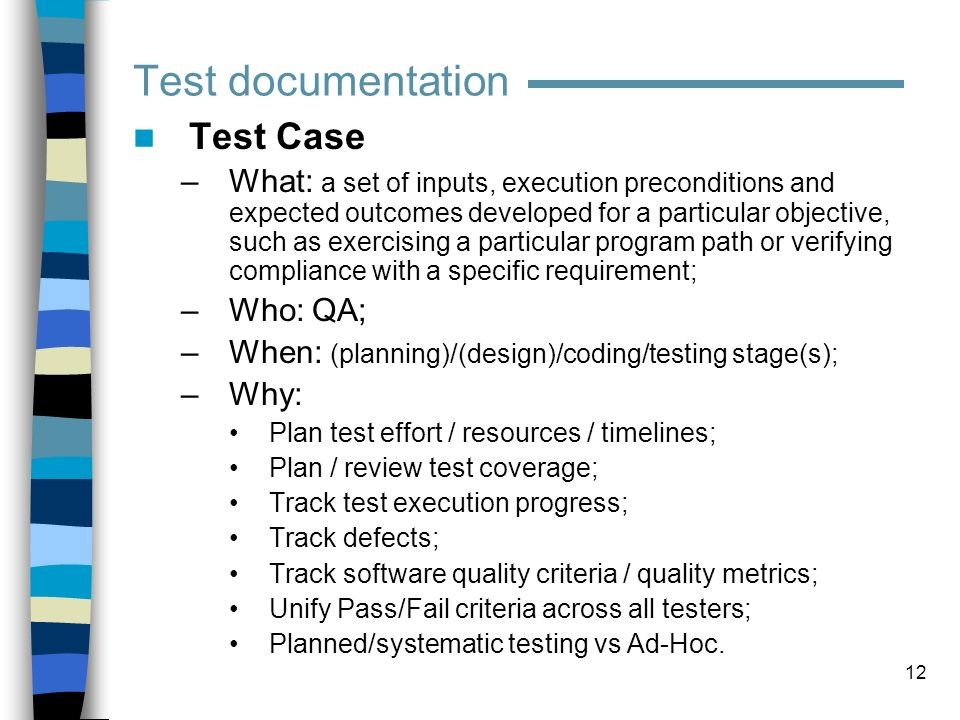 Test documentation Test Case