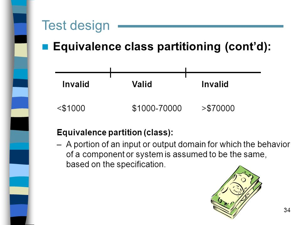Test design Equivalence class partitioning (cont'd):