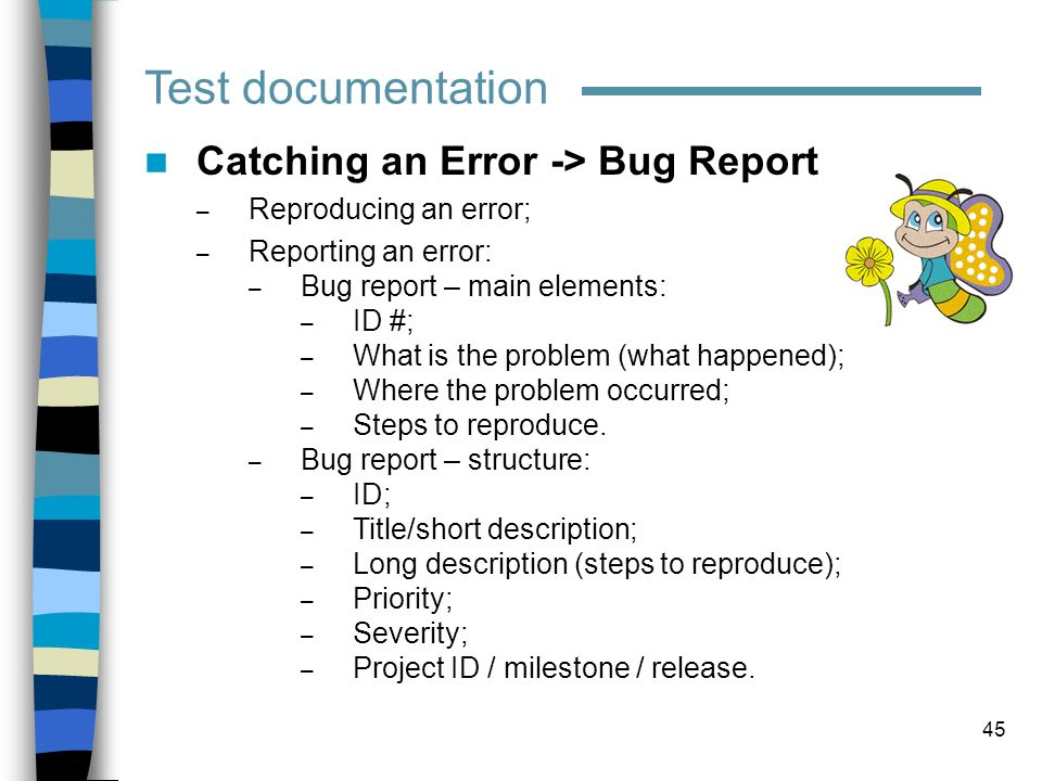 Test documentation Catching an Error -> Bug Report