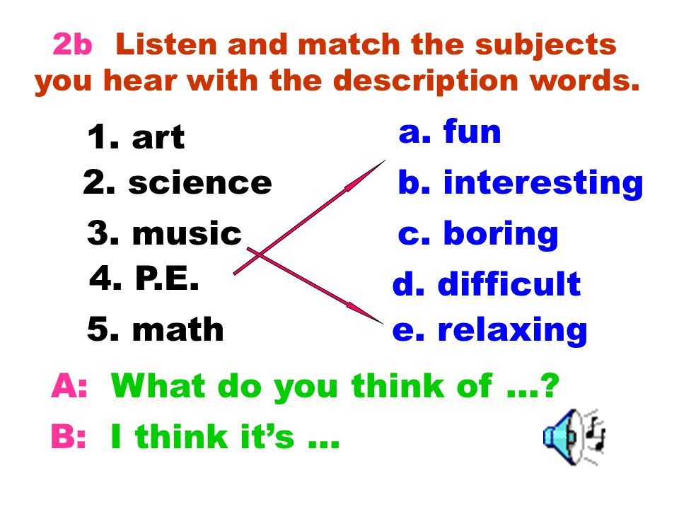 Listen and match the subjects you hear with the description words.