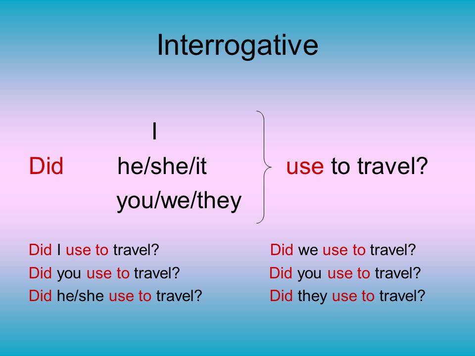 Interrogative Did he/she/it use to travel I you/we/they