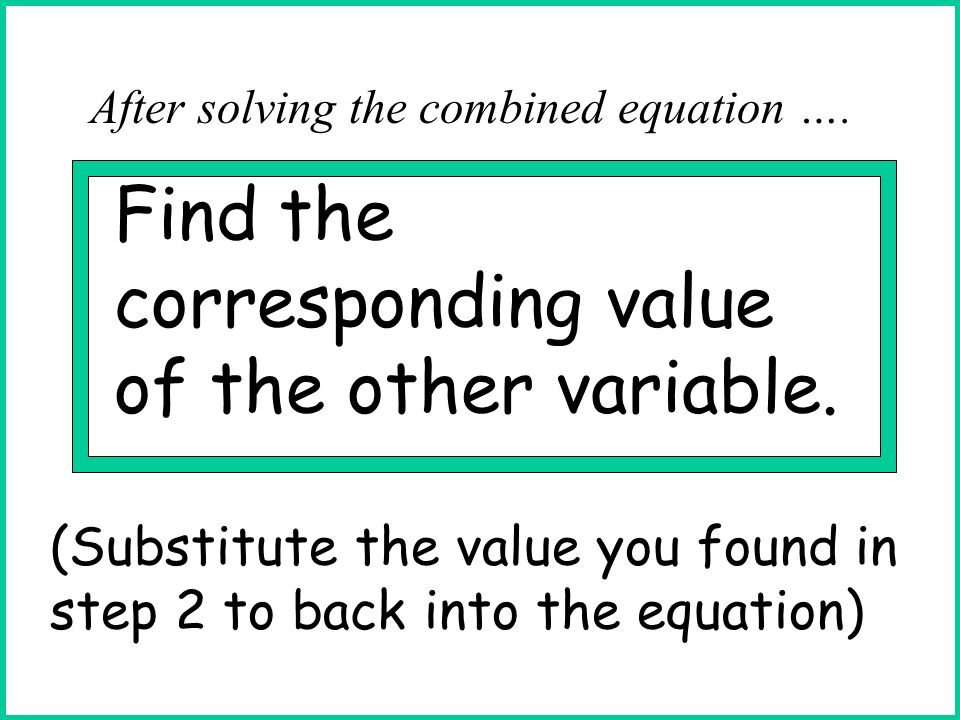 Find the corresponding value of the other variable.