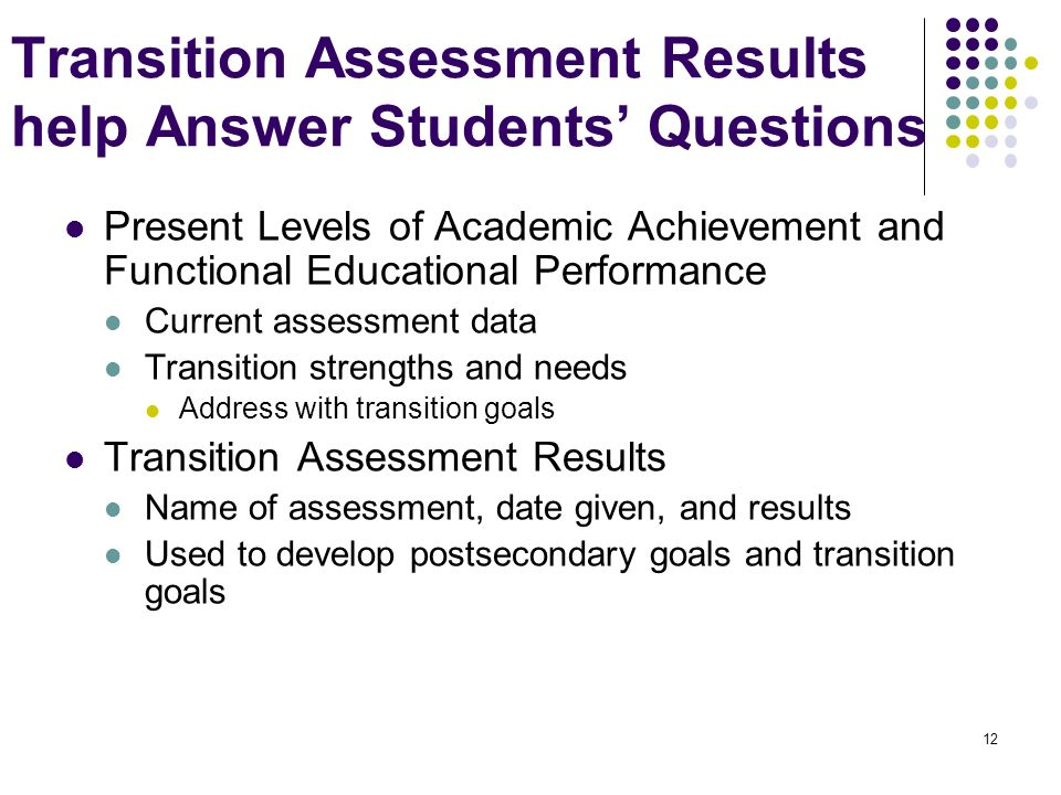 Transition Assessment Results help Answer Students' Questions