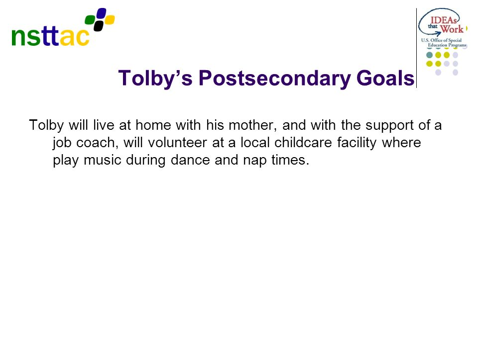 Tolby's Postsecondary Goals