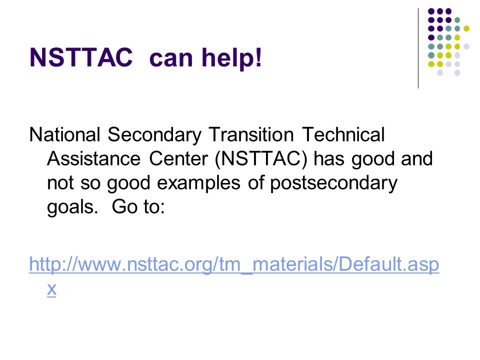 NSTTAC can help!