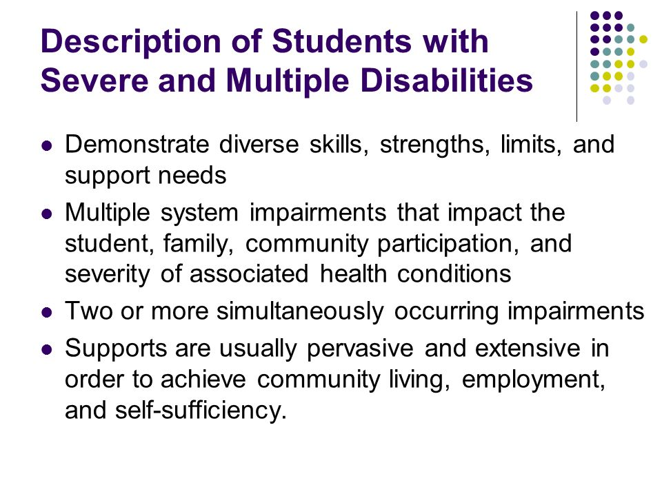 Description of Students with Severe and Multiple Disabilities