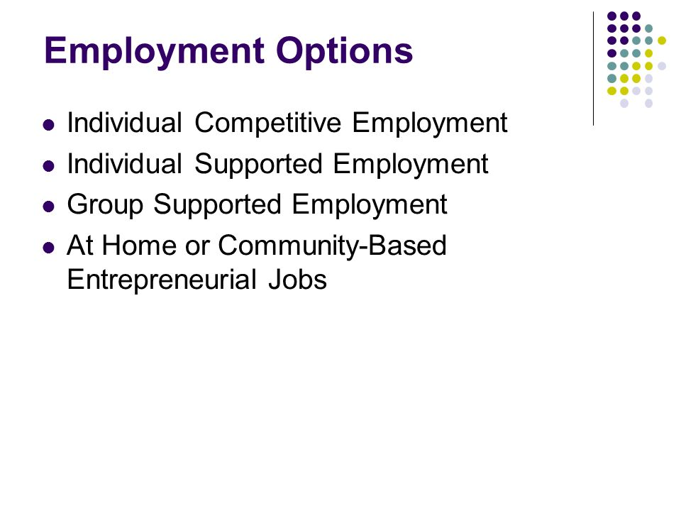 Employment Options Individual Competitive Employment