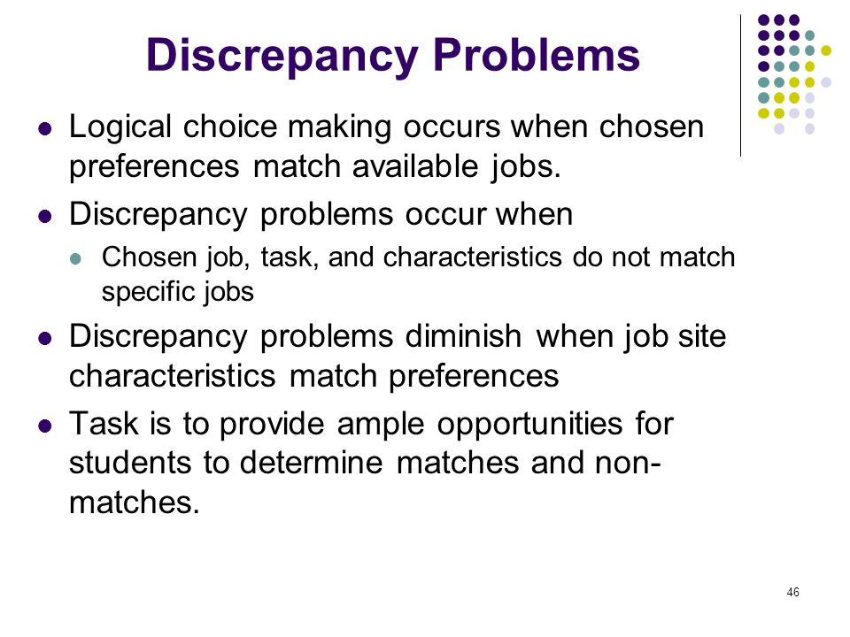 Discrepancy Problems Logical choice making occurs when chosen preferences match available jobs. Discrepancy problems occur when.