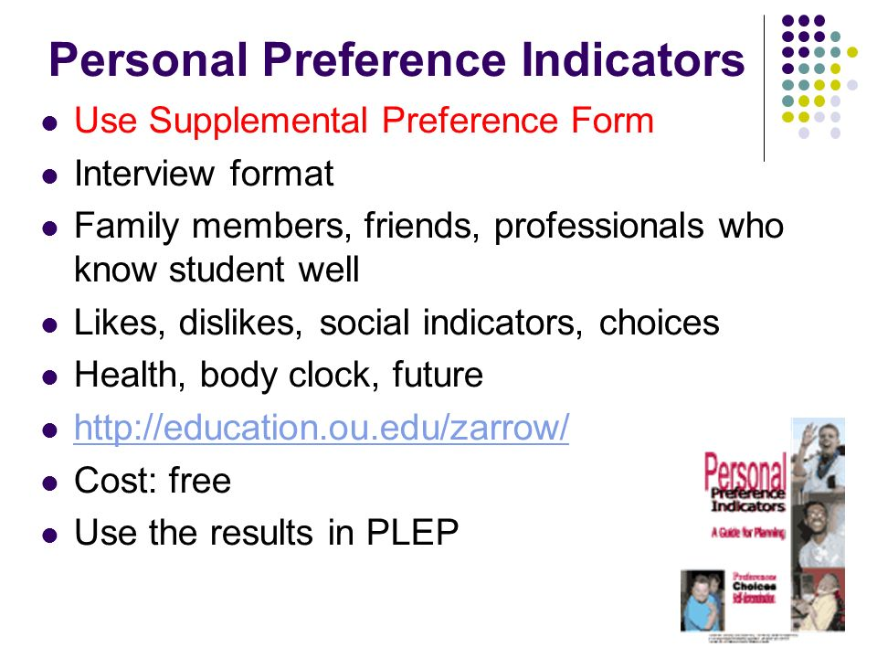 Personal Preference Indicators