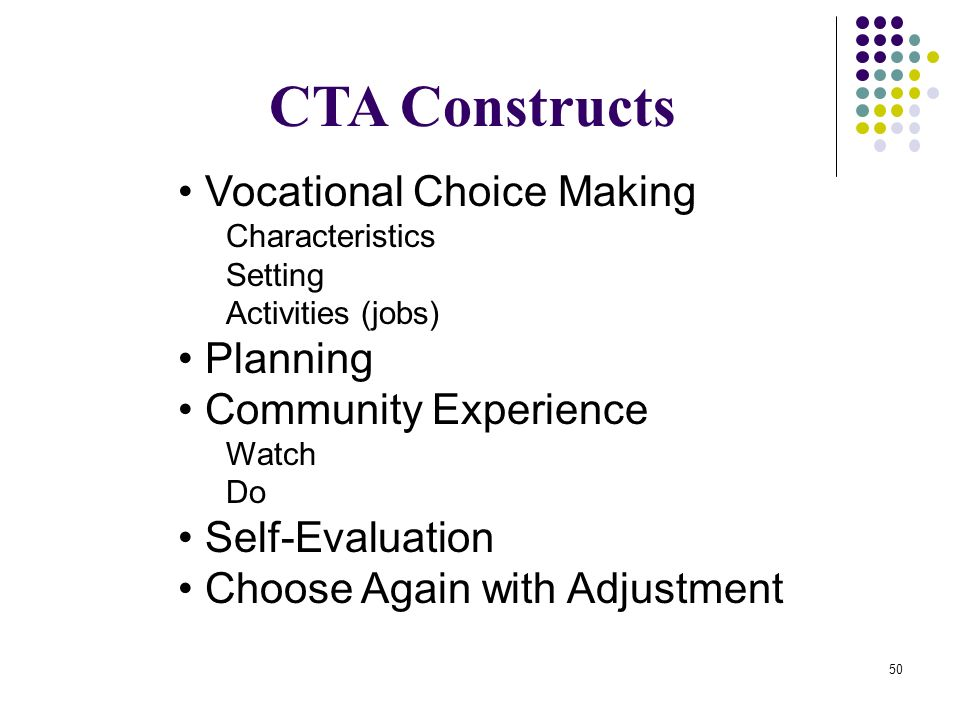 CTA Constructs • Vocational Choice Making • Planning