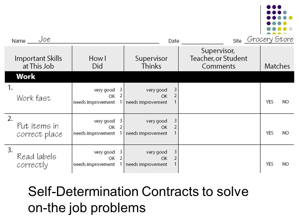 Self-Determination Contracts to solve on-the job problems