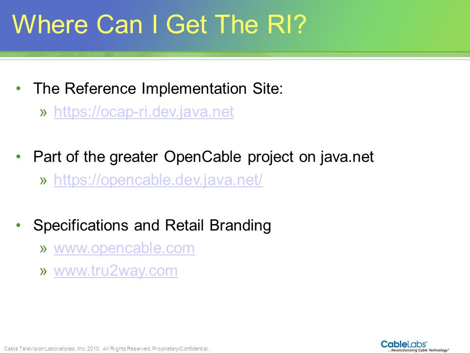 Where Can I Get The RI The Reference Implementation Site: