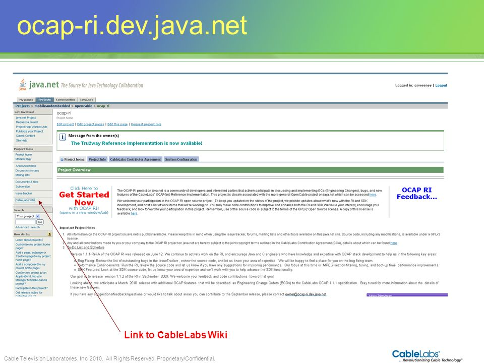ocap-ri.dev.java.net Link to CableLabs Wiki