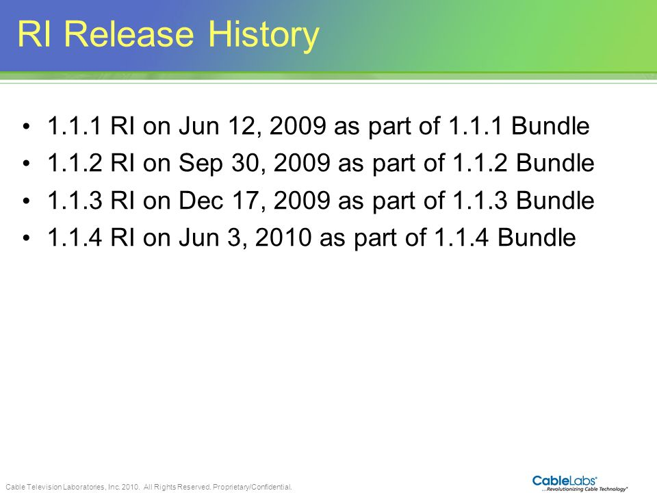 RI Release History RI on Jun 12, 2009 as part of Bundle