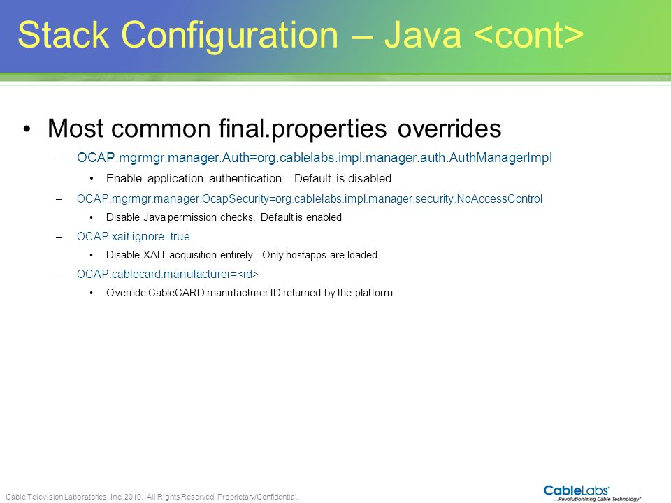 Stack Configuration – Java <cont>
