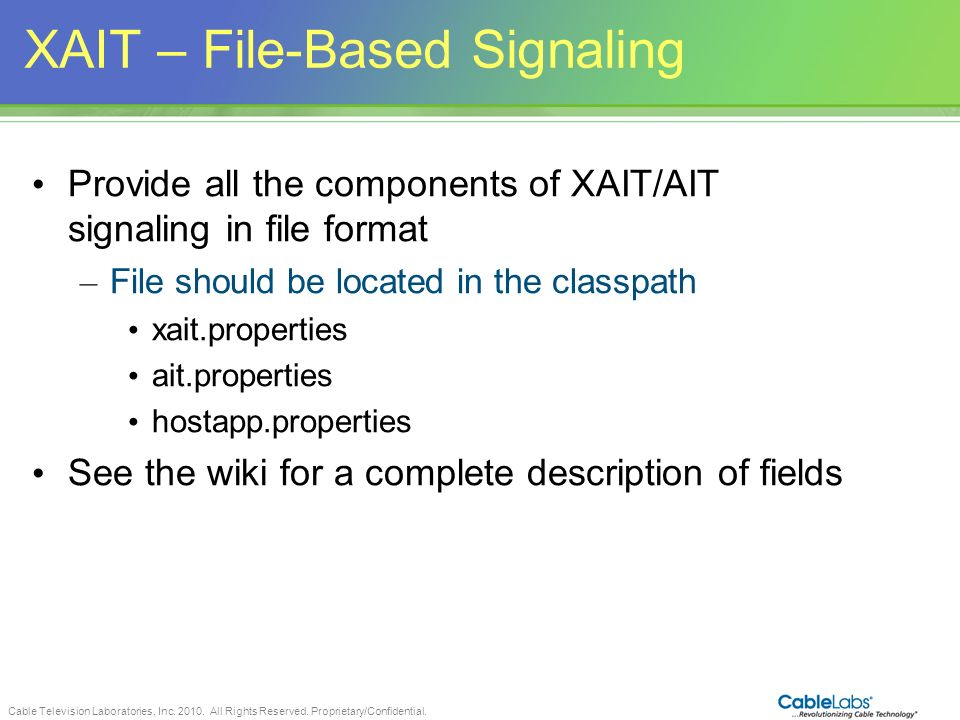 XAIT – File-Based Signaling