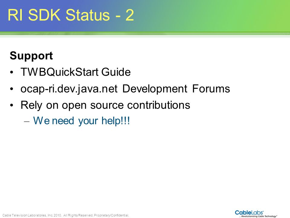 RI SDK Status - 2 Support TWBQuickStart Guide