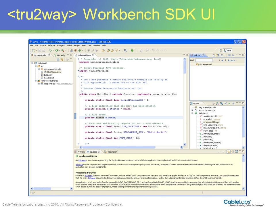 <tru2way> Workbench SDK UI