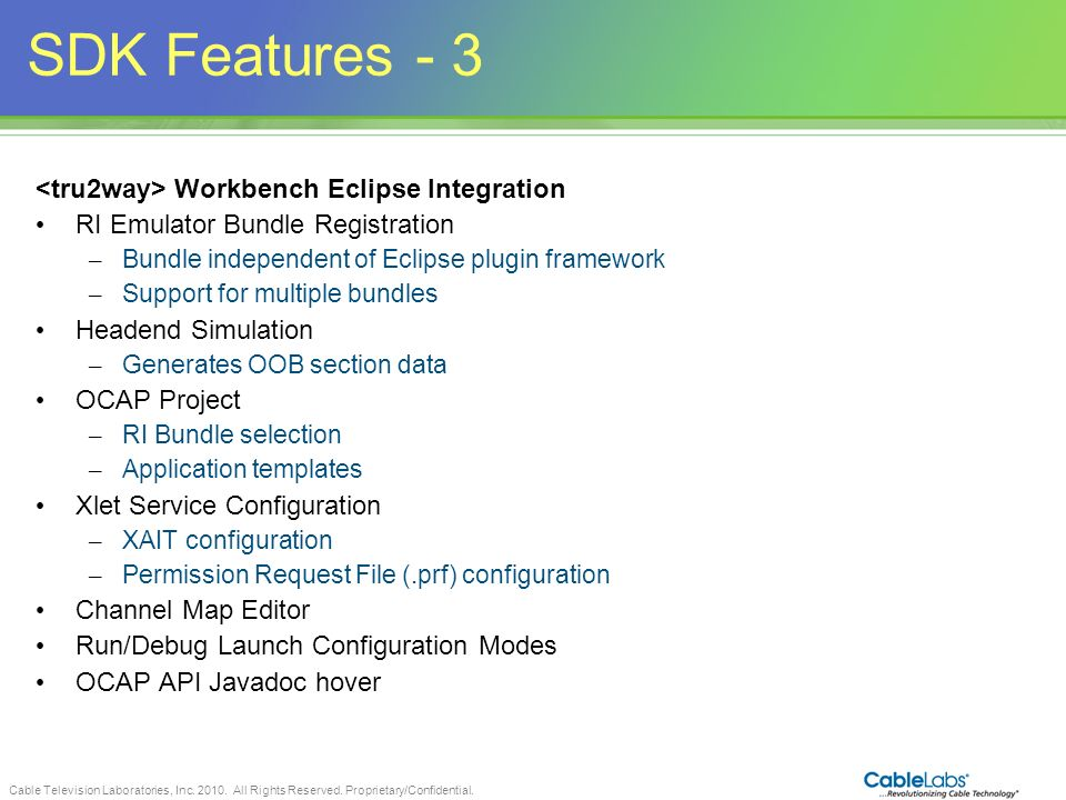SDK Features <tru2way> Workbench Eclipse Integration