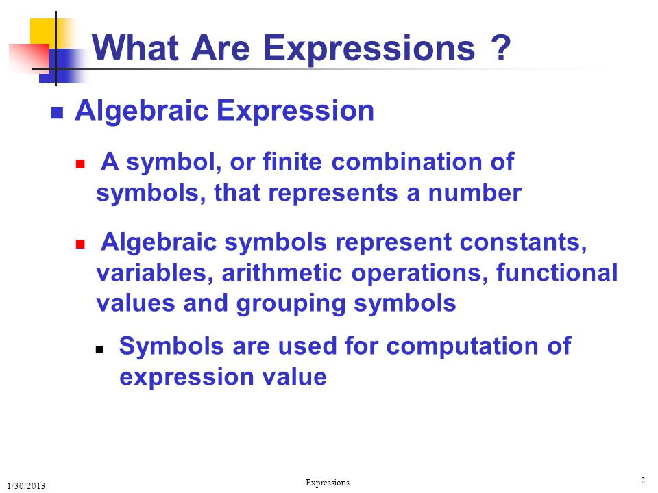 What Are Expressions Algebraic Expression