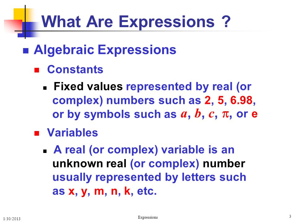 What Are Expressions Algebraic Expressions Constants Variables