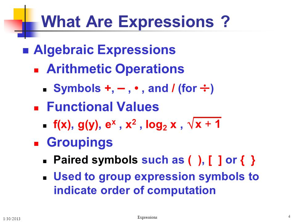 What Are Expressions Algebraic Expressions Arithmetic Operations