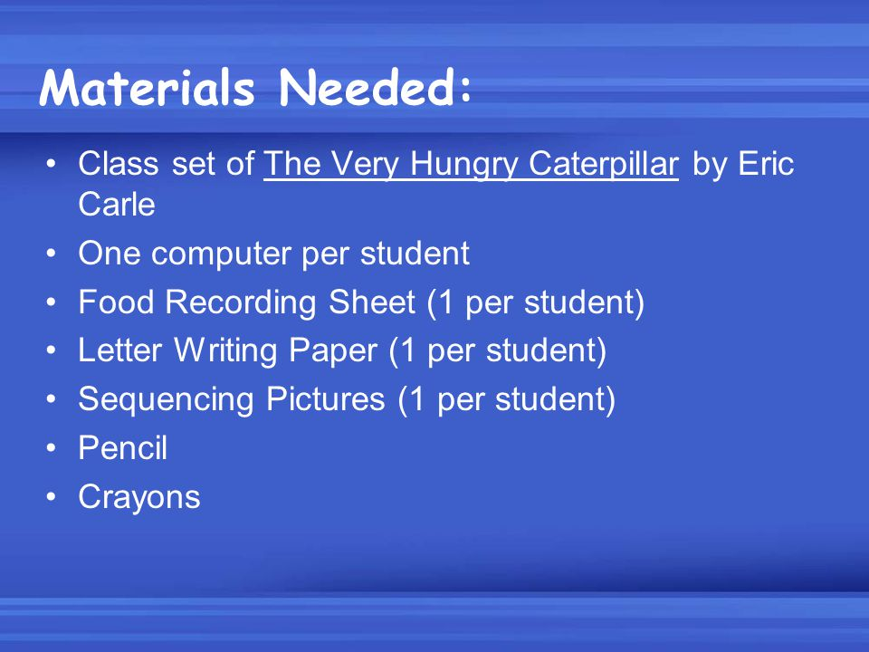 Materials Needed: Class set of The Very Hungry Caterpillar by Eric Carle. One computer per student.