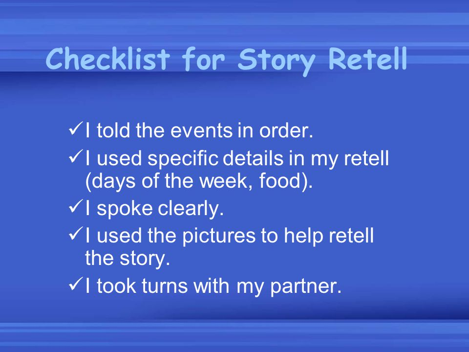 Checklist for Story Retell
