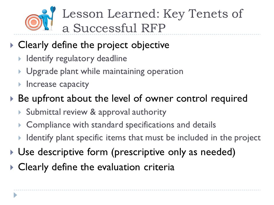 Lesson Learned: Key Tenets of a Successful RFP