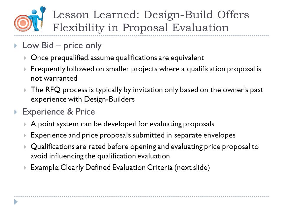 Lesson Learned: Design-Build Offers Flexibility in Proposal Evaluation