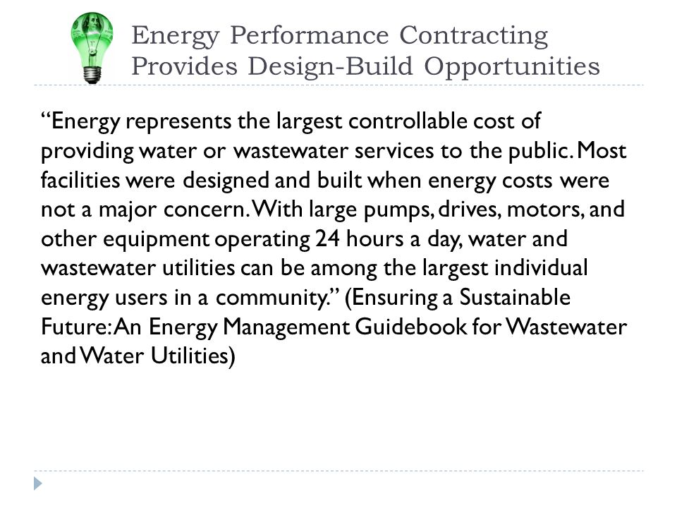 Energy Performance Contracting Provides Design-Build Opportunities