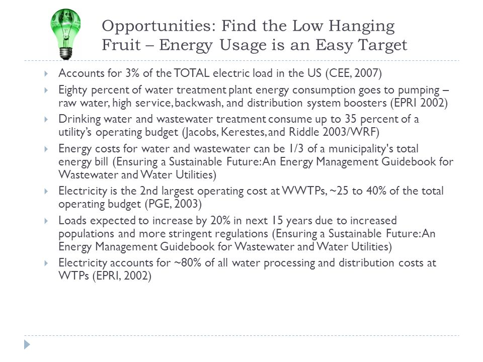 Opportunities: Find the Low Hanging Fruit – Energy Usage is an Easy Target