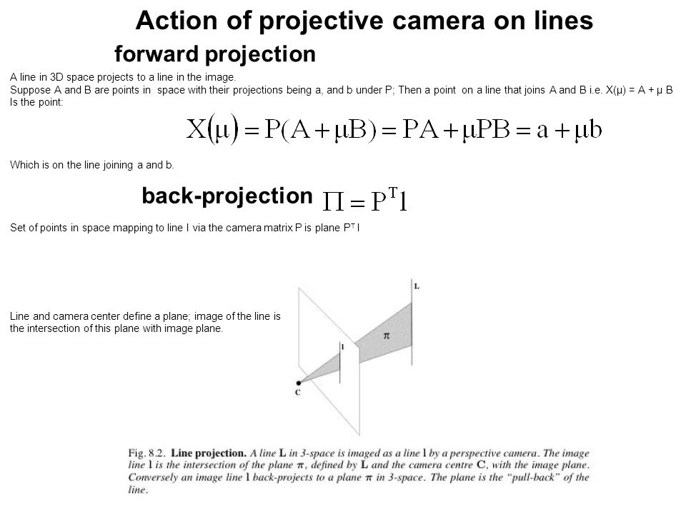 Action of projective camera on lines