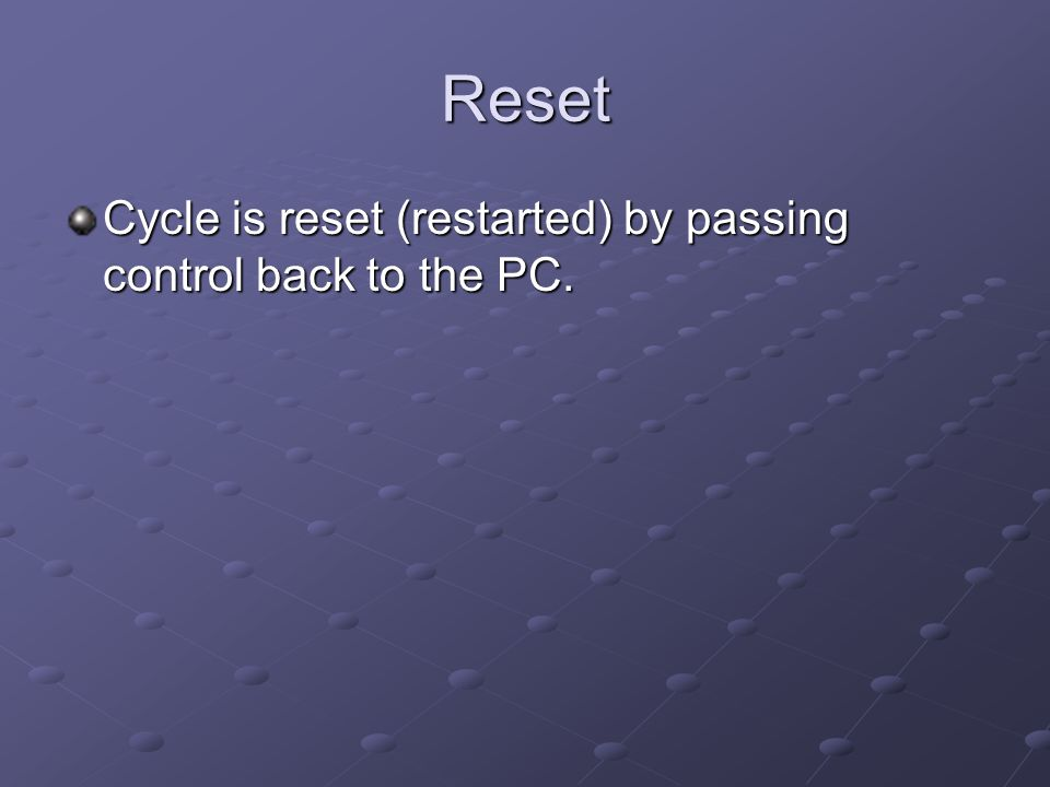 Reset Cycle is reset (restarted) by passing control back to the PC.