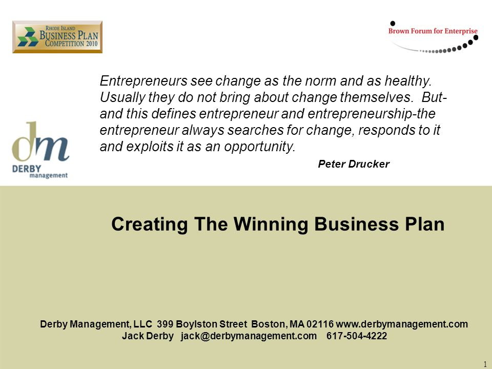 Creating The Winning Business Plan