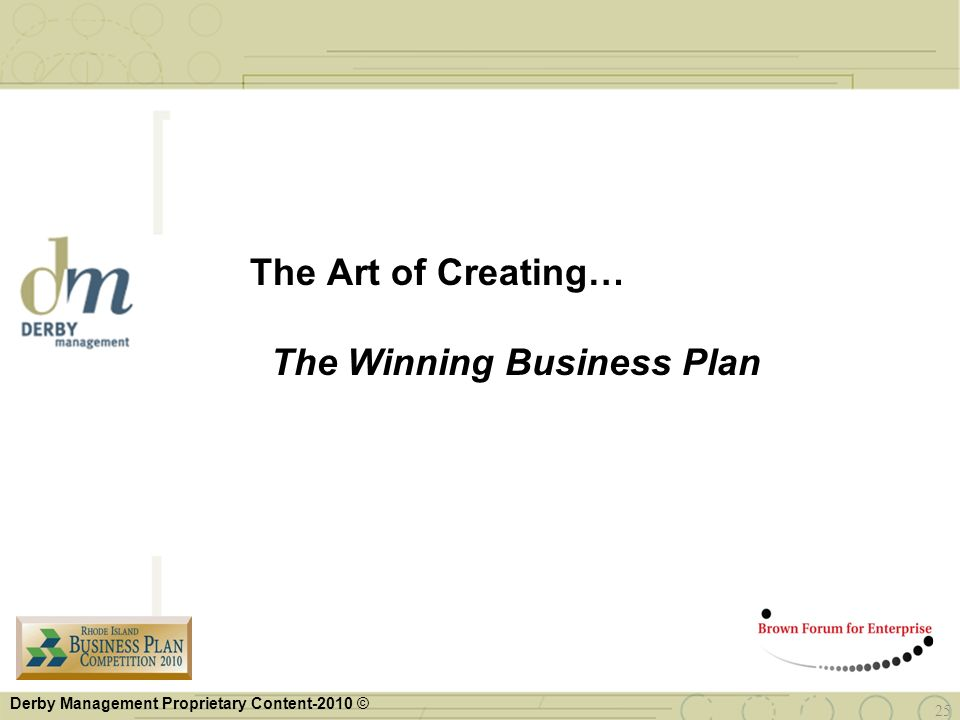The Art of Creating… The Winning Business Plan