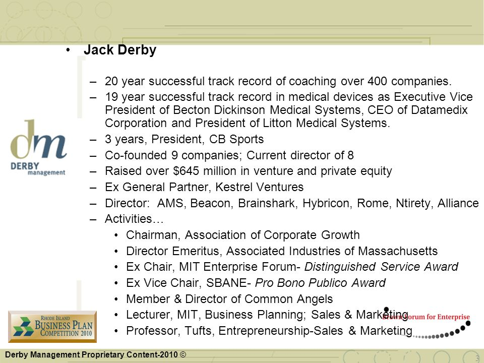 Jack Derby 20 year successful track record of coaching over 400 companies.