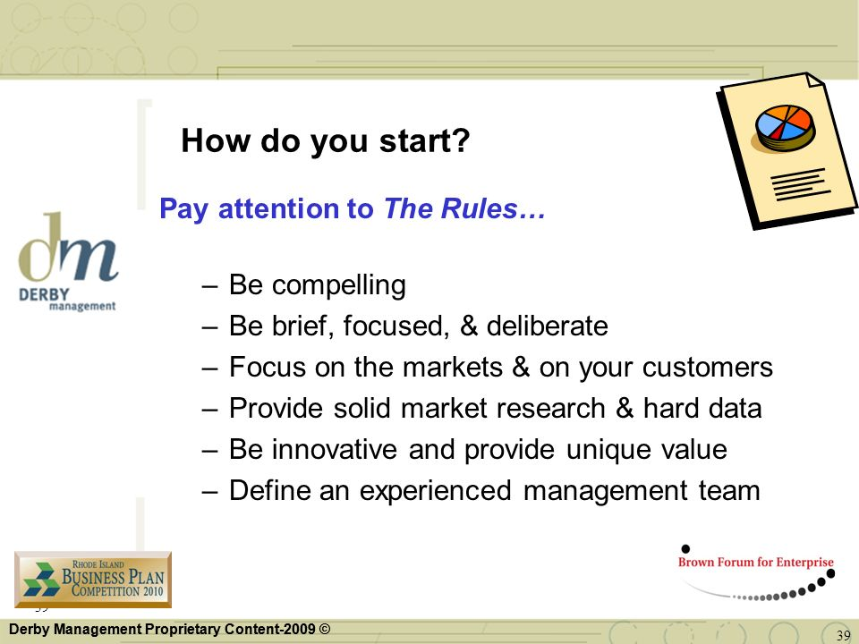 How do you start Pay attention to The Rules… Be compelling