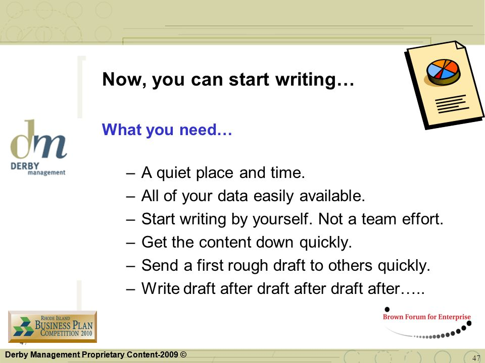 Now, you can start writing…