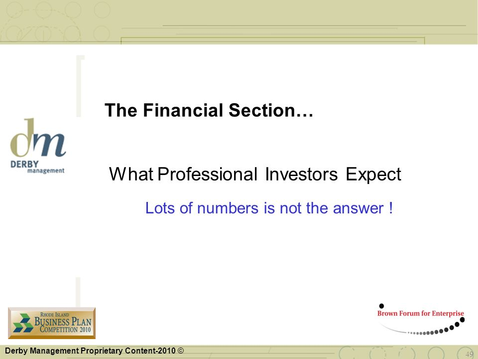 The Financial Section… What Professional Investors Expect